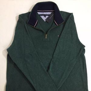 Tommy Hilfiger Green 1/4 Zip Sweater New XL